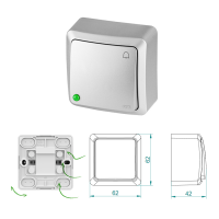 Aufputz-Serie Lichtschalter Wechselschalter Taster Steckdose silber