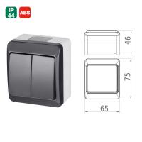 Aufputz-Serie anthrazit IP44 (Lichtschalter/Wechselschalter, Doppelschalter, Klingeltaster, 1-fach/2-fach/3-fach Steckdose)