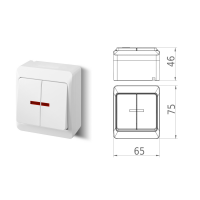 Aufputz-Serie / Steckdose 1-fach, 2-fach, 3-fach / Schalter / Taster / Doppelschalter / Kreuzschalter / Kontrollschalter / IP44 - Feuchtraum geeignet / weiß