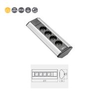 4-fach Ecksteckdose Tischsteckdose Bodensteckdose / ideal für Küche oder Büro / silber schwarz