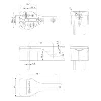 Winkelstecker Schukostecker Flachstecker mit Klappgriff 230V 16A IP20 flach