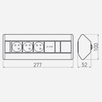 3-fach Ecksteckdose Tischsteckdose Bodensteckdose / mit 2 USB Anschlüssen / ideal für Küche Büro / silber schwarz