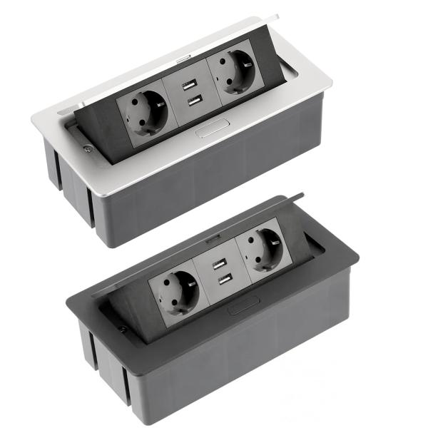 Tischsteckdose Bodensteckdose Küchensteckdose Büro 2-fach 2 USB Aluminium silber schwarz