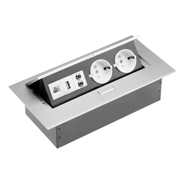 Tischsteckdose Bodensteckdose 2-fach USB Aux Ethernet LAN versenkbar Aluminium silber