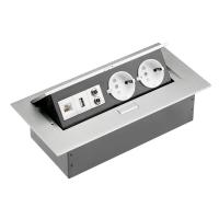 Tischsteckdose Bodensteckdose 2-fach USB Aux Ethernet LAN...