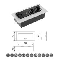 Tischsteckdose Bodensteckdose 2-fach USB HDMI Ethernet LAN versenkbar Aluminium