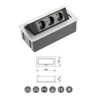 Tischsteckdose Bodensteckdose Einbausteckdose Büro 3-fach Aluminium