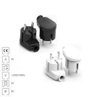 Schukostecker Flachstecker 230V 16A IP20 schwarz weiß