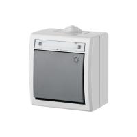 Aufputz-Serie Steckdose Lichtschalter / Wechselschalter Taster Doppelschalter Feuchtraum IP55 hellgrau
