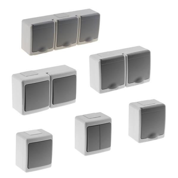 Aufputz-Serie Lichtschalter Wechselschalter Taster Doppelschalter Steckdose Feuchtraum IP44 grau