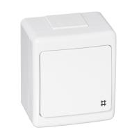 Aufputz-Serie Lichtschalter Wechselschalter Taster Doppelschalter Steckdose Feuchtraum IP44 weiß
