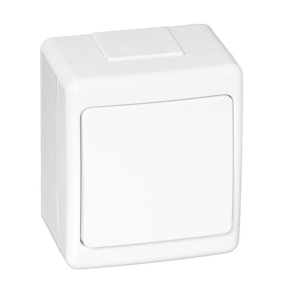 Aufputz-Serie Lichtschalter Wechselschalter Taster Doppelschalter Steckdose Feuchtraum IP44 weiß Lichtschalter