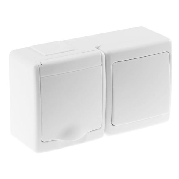 Aufputz-Serie Lichtschalter Wechselschalter Taster Doppelschalter Steckdose Feuchtraum IP44 weiß Lichtschalter mit Steckdose