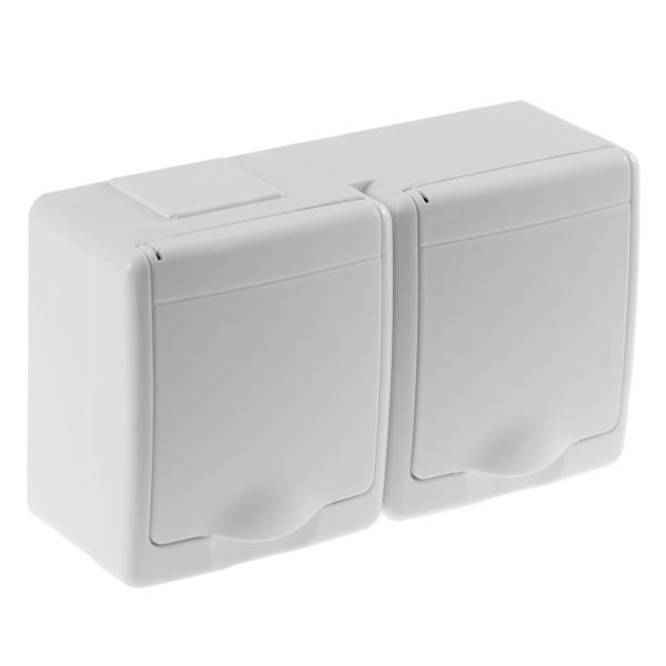 Aufputz-Serie Lichtschalter Wechselschalter Taster Doppelschalter Steckdose Feuchtraum IP44 weiß 2-fach Steckdose