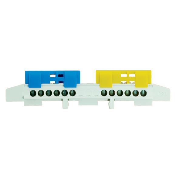 Sammelklemme Leiterklemme Klemme für Hutschiene Klemmstein PE / N Klemmen Schutzleiter blau / gelb: 2 x 6 polig bis 16mm²