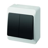 Aufputz-Serie grau transparent IP44 (Lichtschalter/Wechselschalter, Doppelschalter, Klingeltaster, 1-fach/2-fach/3-fach Steckdose)
