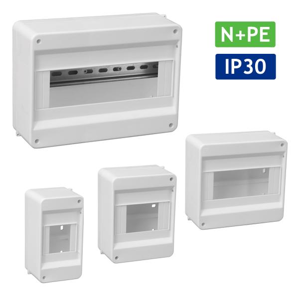 Sicherungskasten Verteilerkasten Kleinverteiler Aufputz IP30 PE N 400V AP / kompakt / ohne Abdeckung