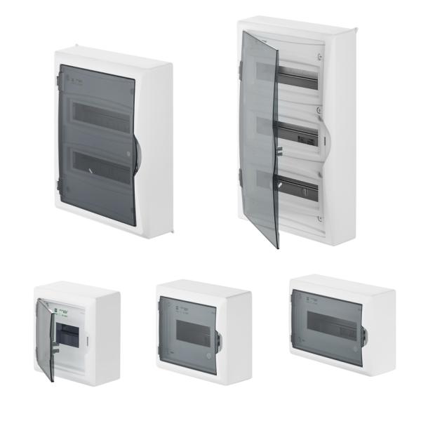 Aufputz / Verteilerkasten / Sicherungskasten / Kleinverteiler / IP40 / mit PE N Klemmen / hellgrau grau