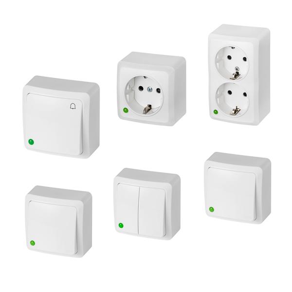 Aufputz-Serie / Lichtschalter Wechselschalter Taster Steckdose / weiß