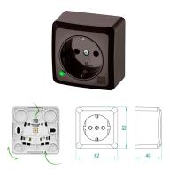 Aufputz-Serie Lichtschalter Wechselschalter Taster Steckdose braun